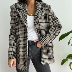 Escada houndstooth wool blazer jacket